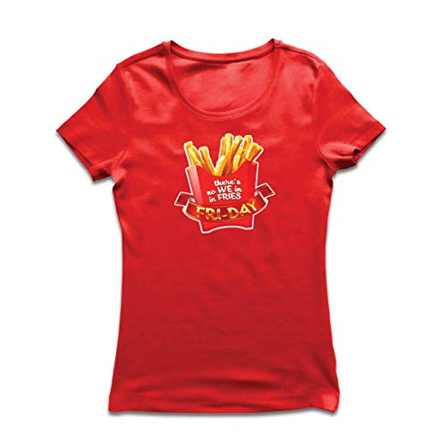 lepni.me Frauen T-Shirt Es gibt Keine wir in Pommes Freitag Outfit Junk Food Liebhaber (X-Large Rot Mehrfarben)