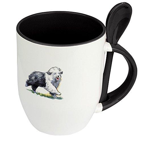 Hundetasse Bobtail - Löffel-Tasse mit Hundebild Bobtail - Becher, Kaffeetasse, Kaffeebecher, Mug - Schwarz