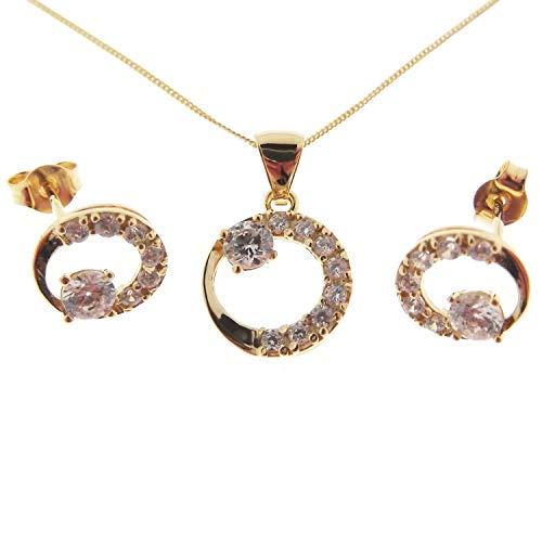 004373cf075a Gioielli Aurum - Set Conjunto Luna Set Collar y Pendientes de Mujer de Oro  Amarillo con