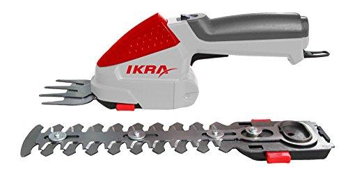 IKRA Akku Grasschere Strauchschere 2in1-Gartengerät IGBS 1054 LI 7,2Volt, Laufzeit bis 175 Min. inkl. Akku, Ladegerät und Tasche