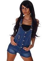 5188 Fashion4Young Damen Latzhose Hotpants Short kurze mit Hosenträgern Hot Pants latzjeans 5 Größen