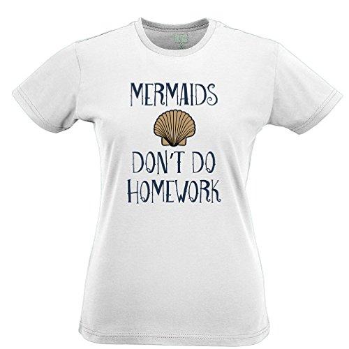 Mermaids Hausaufgaben Kostüm Slogan Schwanz College School nicht tun Frauen (Humor Kostüme Lustig College)