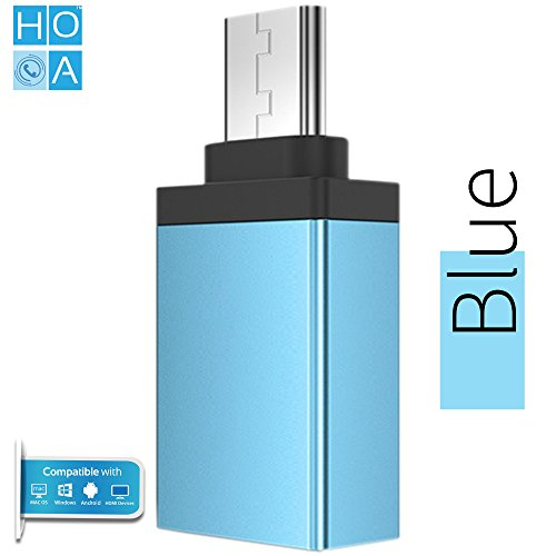 HOA High Speed Ultra Slim Metal Type-C to USB A Female OTG Adapter for Type-C OTG Supported Devices