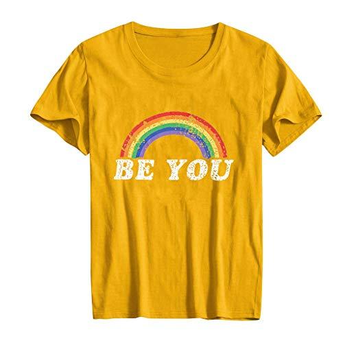 Honestyi Frauen Casual Kurzarm Brief Rundhals Bedruckte T Shirts Bluse Tops BE You Ms. Brief drucken Kurzarm T Shirt Top(Gelb,XXXL)