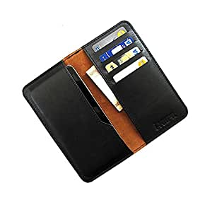 i-KitPit : Genuine Leather Wallet Flip Pouch Case For Sony Xperia U (BLACK)