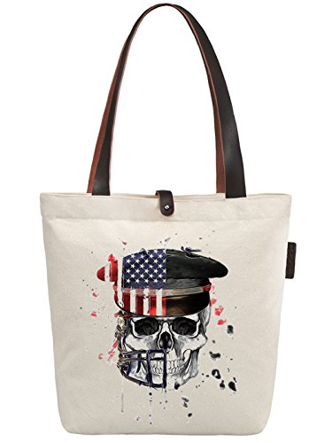 So'each Women's Us Service Cap Skull Graphic Canvas Handbag Tote Shoulder Bag