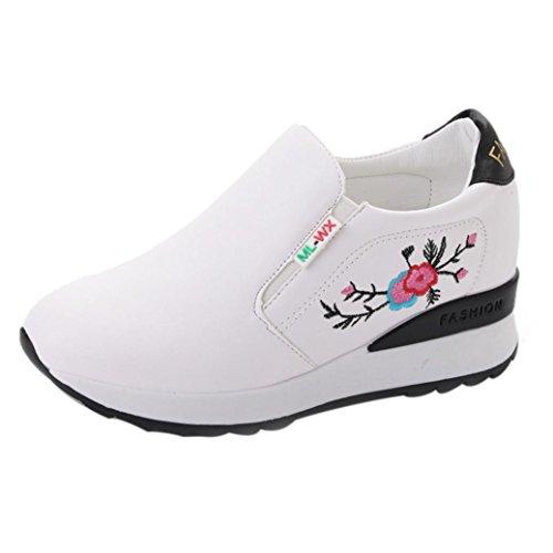 Zapatos Mujer Suave Zapatos Casual Bordado Respiratorio Grueso Pies Inferiores Por ESAILQ