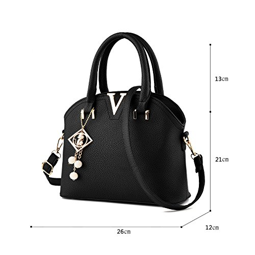 Tisdaini Nouveau sac à main femme sac à bandoulière sac à main sac à main portefeuille avec petit pendentif nero