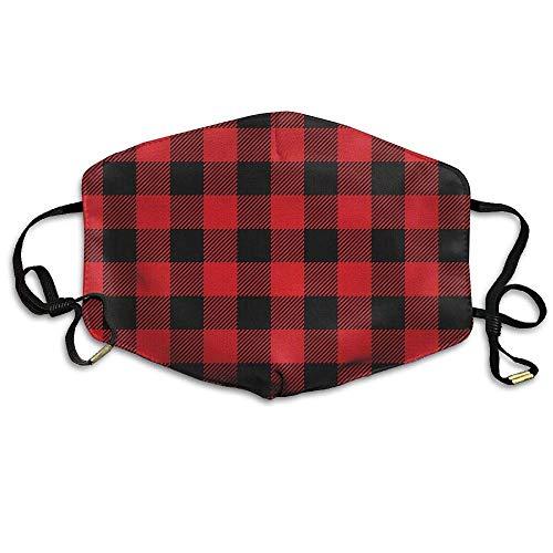 Unisex Rustic Red Black Buffalo Check Plaid Pattern Anti Dust Mouth-Muffle Masks Mouth Face Mask - Buffalo Plaid Fleece