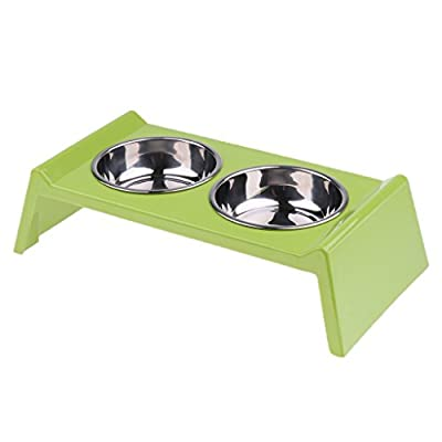 B Blesiya Elevated Stainless Steel Double Pet Dog Cat Bowl Feeding Station Raised Height Stand, to Relieve Neck Stress Keep Healthy from B Blesiya