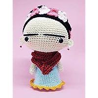 Amigurumi fantoccio Frida Kahlo, Frida Kahlo amigurumi, fantoccio uncinetto, bambola Frida