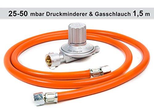 Anschluss-Set bestehend aus Druckminderer 25-50 mbar (stufenlos regelbar) + Gasschlauch 1,5 m ( für geeignete Gasgeräte / Gaskocher, Gasherd, Hockerkocher, Campingkocher Heizung Heizofen Gas Regler