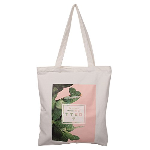 Weiß Leinwand Kaktus Muster Zipper Design Buch Halter Schulter Einkaufstasche