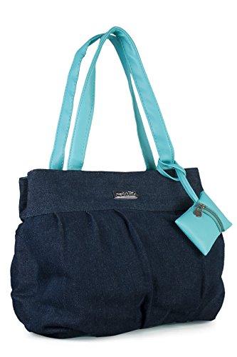 FELICITA Jeans Women\'s Designer Branded Medium Handbag / Shoulder Bag/ Hand Held Bag (Blue)