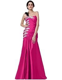 Sunvary un hombro sirena estilo satén de largo vestido de noche con cuentas