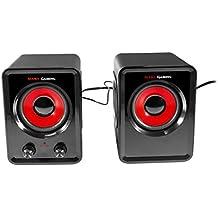 Mars Gaming MS3 - Altavoces gaming (15W potencia, 6 drivers / 2 activos y 4 pasivos, tamaño compacto,subwoofer para graves, USB, Jack 3.5mm, PC / Mac / Smartphone / Tablet), negro y rojo