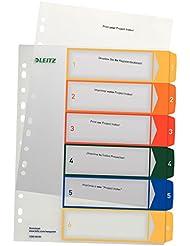 Leitz Plastikregister bedruckbar, A4, PP, 6 Blatt, farbig