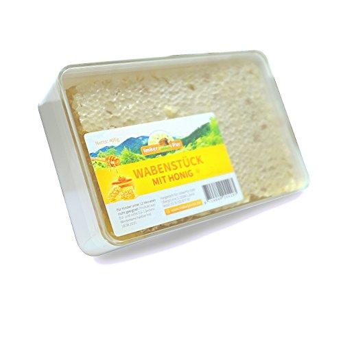 ImkerPur® Wabenstück in hocharomatischem Akazien-Honig (Jahrgang 2017), 400 g, in hochwertiger, lebensmittelechter Frische-Box