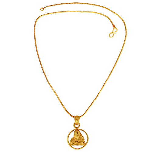 Menjewell Spiritual Collection Gold Plated Lord Sai Baba Mini Pendant with Chain for Men & Boys  available at amazon for Rs.225