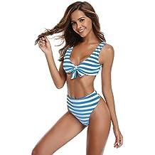 bfebc669d SHEKINI Mujer Tanga Bañador Trajes de Baña Amohadillas Cintura Alta Bikini  Set