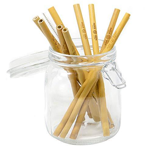 Maison & White Pajitas de bambú reutilizables | Paquete de 10 pajillas aptas para lavavajillas | Sin BPA | Incluye cepillo de limpieza