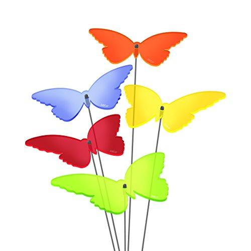 """SUNPLAY Sonnenfänger """"Schmetterlinge Isabelle"""" im FARBMIX, 5 Stück zu je 10 cm Durchmesser im Set + 35 cm Schwingstäbe"""