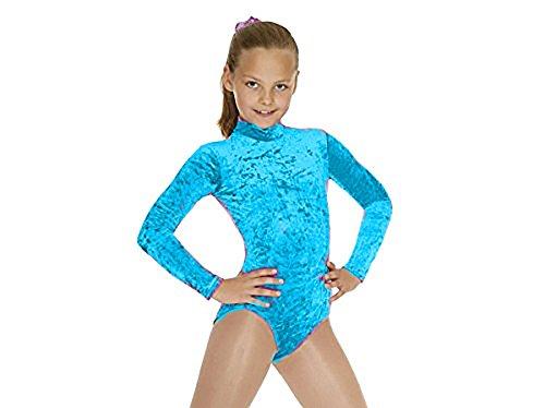 nuovo-ragazza-velluto-a-maniche-lunghe-dance-body-body-da-ginnastica-tutte-le-misure-kingfisher-blue