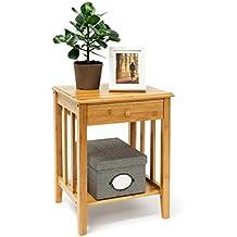 Relaxdays - Mesita auxiliar con cajón, 51,5 x 40,5 x 30,5 cm, de bambú, con 2 baldas de madera, color