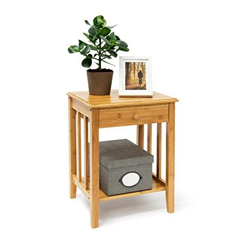 Relaxdays - Mesita auxiliar con cajón, 51,5 x 40,5 x 30,5 cm, de bambú, con 2 baldas de madera, color marrón