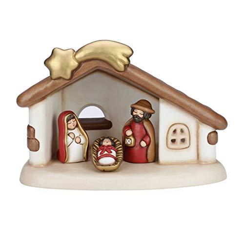 Thun® - presepe completo set capanna: sacra famiglia - versione rossa - statuine presepe classico - ceramica - i classici