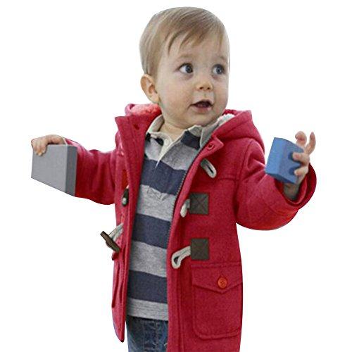 Fashion Britischer Stil Lang Jacke mit Kapuze Dick Warm Winter Herbst Fleecejacke Outerwear für kinder Baby Rot / 120 (Britische Roten Mantel)