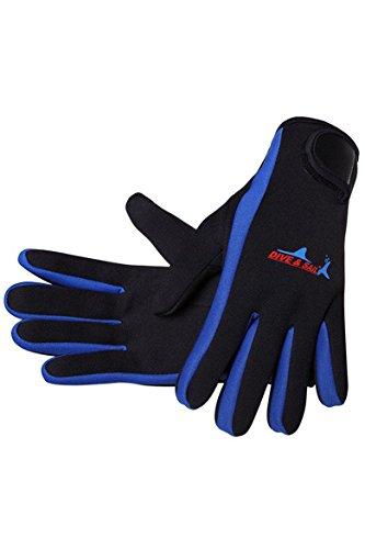 Cokar Neopren Handschuhe 1.5MM Neoprenhandschuhe Tauchen Schnorcheln Elastische Warm Verstellbarer - M,Blau
