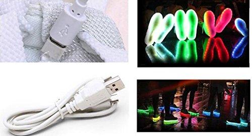 Littlepanda Chaussures unisexe hommes et femmes chaussures de sport USB rechargeable LED chaussures plates clignotantes décontractées Rouge