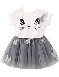 Tinksky Deux pièces Cat Tutu Skirt Set blanc T Shirt papillon jupe grise pour filles 2-3 ans