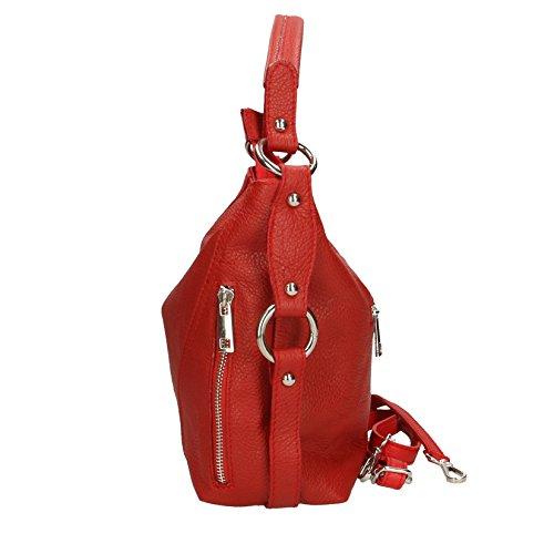 Chicca Borse Clutch Borsetta Borsa a Spalla da Donna con Tracolla in Vera Pelle Made in Italy - 23x14x8 Cm Rosso