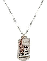 Tata Gisèle Halskette Modeschmuck aus Metall Versilbert und Rosé – Kette  und Anhänger Feder und Plakette 372179ef4c