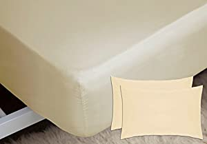Belledorm Fitted Sheet + Housewife Pillowcase Bundle Set, 200 Thread Count Percale, Mattress Depth 28cm