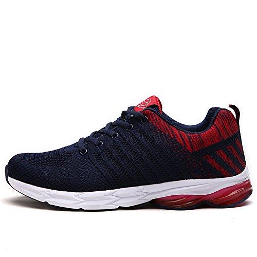 Fexkean Uomo Scarpe da Ginnastica Sneakers Sportive Basse Fitness Outdoor Tennis Running Nero Rosso Verde Arancione(Red42)