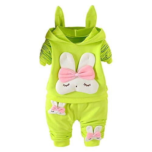 Odjoy-fan- bambino manica lunga coniglio cartone animato stampa cappuccio cappotto maglione + pantaloni lunghi solidi abito a due pezzi pagliaccetto lunga bambina romper tutine neonata
