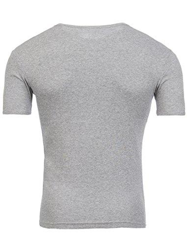 Tiefer V-Ausschnitt Deep V-Neck T-Shirt Slimfit Herren Uni von Young & Rich Grau