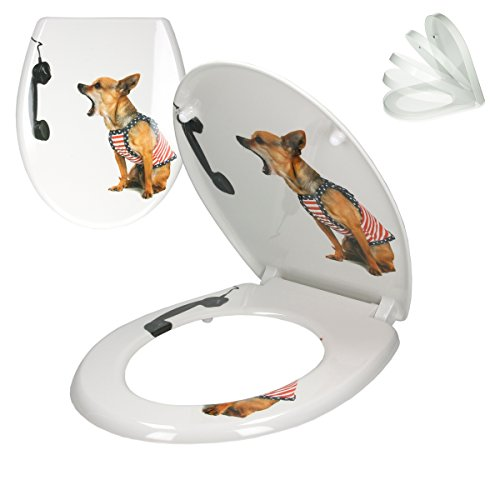 ECD Germany Premium Duroplast Toilettendeckel mit Soft-Close Absenkautomatik Hund Telefon Motiv -