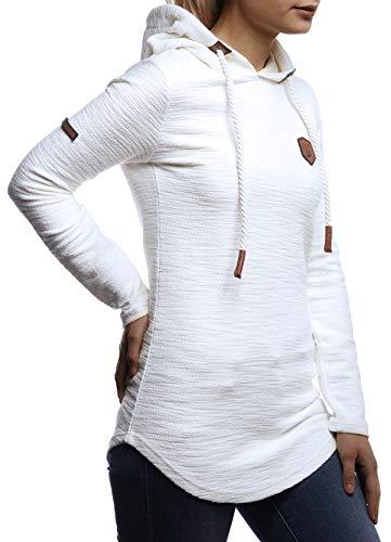 LEIF NELSON Damen Pullover-Hoodie Kapuze Kapuzenshirt | Moderner Sweatshirt-Kapuzenpullover | Frauen Longsleeve-Pulli Slim Fit Kapuzenpulli | LN1900 Ecru Large