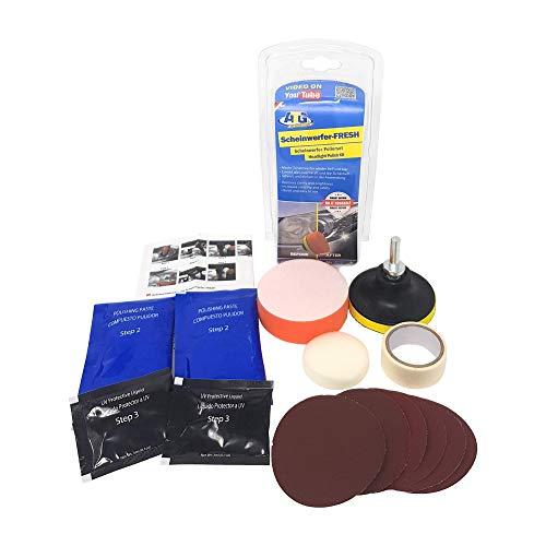 ATG Scheinwerfer-FRESH – Scheinwerfer-Polierset – 16-tlg. Scheinwerfer Aufbereitungs-Set mit Bohrmaschinenaufsatz