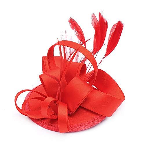Moulin Edel Rouge Kostüm - Kuingbhn Fascinator-Hut Frauen Blume Braut Haarspange Feder Haarnadel Kopfschmuck Freundin Ballzubehör (Color : Red, Size : Free Size)
