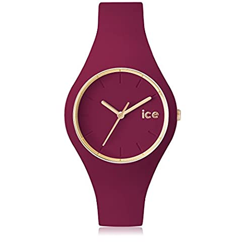 ICE-Watch - ICE.GL.ANE.S.S.14 - Ice Glam Forest - Montre Mixte - Quartz Analogique - Cadran Rouge - Bracelet Silicone Rouge