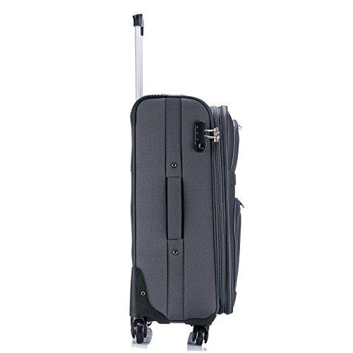 WOLTU RK4214gr-M-a Reise Koffer Trolley mit 4 Rollen , Weichgepäck Reisegepäck , Reisekoffer Stoff 1200D Oxford Weichschale , Handgepäck leicht & günstig , Grau (M, 56 cm & 42 Liter) - 6
