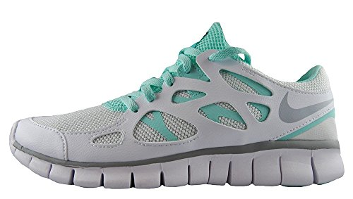 Nike Wmns Free Run 2 Ext, sneaker femme Blanc et bleu caraïbes