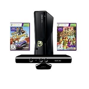 Xbox 360 – Konsole Slim 4 GB inkl. Kinect Sensor, Kinect Adventures und Kinect JoyRide, schwarz-matt