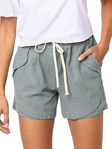 Onsoyours Shorts Damen Sommer Kurze Hosen Tunnelzug Elastische Taille Freizeithose Solide Baumwolle Leinen Strand Shorts mit Taschen Hellgrün X-Large -