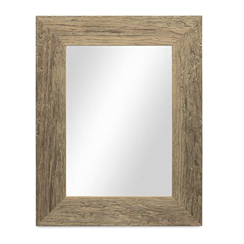 PHOTOLINI Wand-Spiegel 30x40 cm im Massivholz-Rahmen Strandhaus-Stil Breit Eiche-Optik Rustikal/Spiegelfläche 20x30 cm